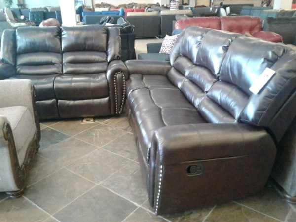 Bonded leather sofa and loveseat recliners