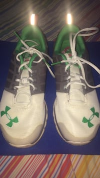 white-green-and-gray Under Armour sneakers