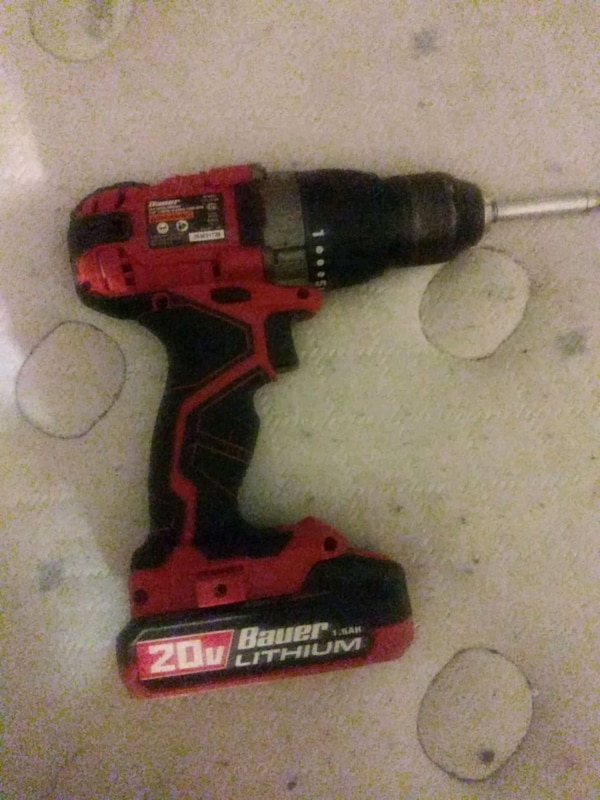 red and black Bauer cordless hand drill