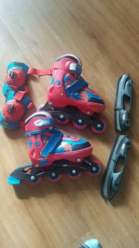 toddler's red and blue inline skates 715 km