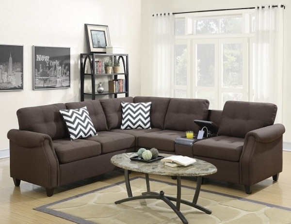 Beautiful Dark Coffee Modular Sofa W Usb Port In Console Storage Cupholders 2 Accent Pillows Included Take It Home Today Easily With Only 49