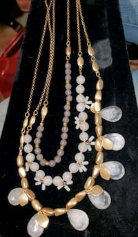 PRICE DROP! 3 Strand Milk Colored & Gold Necklace