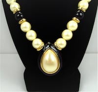 1980's Napier Pear Shaped Pearl Black Enamel Pendant With Necklace Manchester