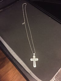 """Men's Shaquille O'Neal Diamond Accent Groove Cross Pendant in Two-Tone Stainless Steel - 24""""  Innisfil"""