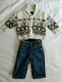 Baby Gap fall grandpa shawl cardigan and jeans. Mu Toronto, M4W 1A8