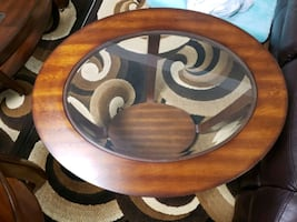 Wood / glass coffee table set