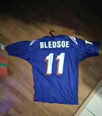 blue and white Bledsoe crew-neck t-shirt