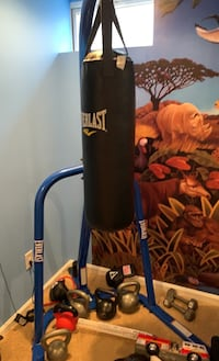 Everlast punching bag, stand, gloves. 70 lbs. Like new