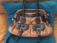 tote bag in pelle marrone e nera Velletri, 00049