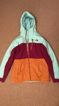 Teal, red, and orange the north face zip-up hoodie