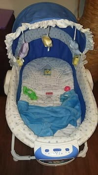 baby's blue and white Fisher-Price bouncer Lafayette, 47904