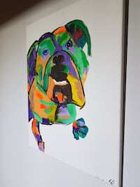 frameless painting of abstract dog