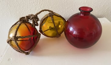 Two Glass Floats & Glass Vase