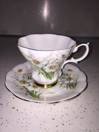 white and green floral ceramic teacup University Heights, 44118