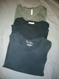 Black and grey long sleeve tops