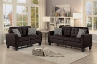 [MONTHLY SPECIAL] Sinclair Chocolate Retro Living Room Set with Pillows Houston, 77036