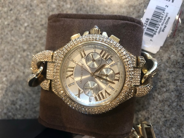 99d8398b2e42 Used Michael Kors Camille Golden Stainless Steel Crystal Quartz Watch  Retail  550 (worn 4 times) for sale in Cumming