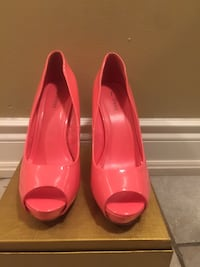 pair of red peep-toe heeled shoes Mississauga, L5V