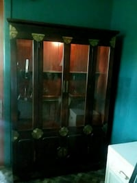 brown wooden framed glass display cabinet Secaucus, 07094