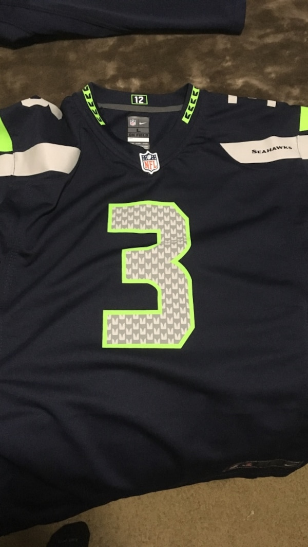 best service d660a 1f519 Black, gray, and white nfl seattle seahawks 3 jersey shirt