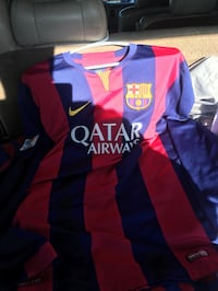 Red and blue striped nike qatar airways soccer jersey Santa Ana, 92701