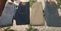 Calvin Klein jeans size 9 junior girls, Levi jeans size 10 misses( fits like a 9 junior), Lee Riveted Khakis size 8 junior,  Levi size 10 misses( fits like a 9 junior. All are short/ petite length except khakis they are medium length , but fits more like  Madison