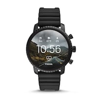 Fossil - Gen 4 Explorist HR Smartwatch 45mm Stainless Steel - Black with Black Silicone Strap Mountain View, 94040