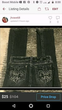 Miss Me black bootcut jeans w/bling 27 x 33 Frankfort, 46041
