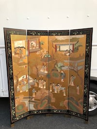 Hong Kong etched, painted wooden screen. Brought to U.S. in the 60's. Not perfect but good condition. Fairfax, 22030
