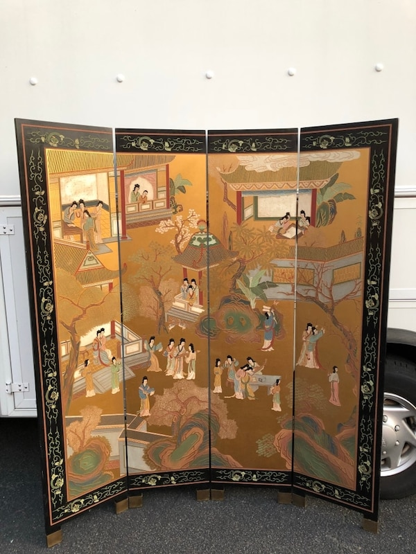 Hong Kong etched, painted wooden screen. Brought to U.S. in the 60's. Not perfect but good condition. 9487c87a-0f89-4db9-a130-e205b22ac3fc