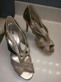 women's gray glittered peep-toe heels