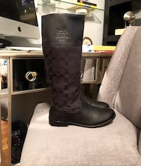 Coach Chrissi Black Riding Boots paid $225 Size 8 good condition stylish classic monogram print flat boots!  Washington, 20002