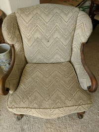 brown wooden framed white padded armchair Denver, 80223