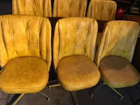 (Free Delivery) Six yellow leather swivel chairs  Calgary, T3C 0C8