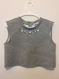 Grey crop top with gems, original tags still attached. Size M.