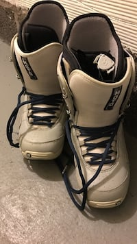White and black leather moto snowboard boots