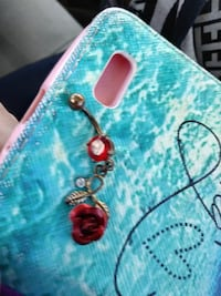 Red rose belly button ring