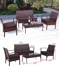 New 4pc wicker furniture sofa chair table set Los Angeles, 90033