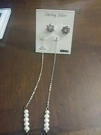 pair of silver-colored link white gemstone earrings Rochester, 14615