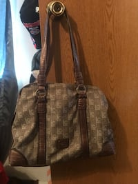 gray and brown printed handbag