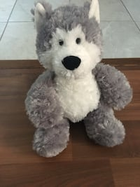 gray and white Dog plush toy