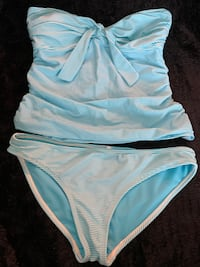 2 Piece Bathing Swim Suit Teal Blue & White Striped Women's Size Small
