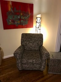 gray and brown floral armchair