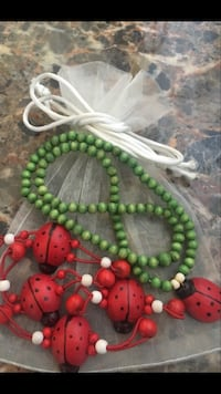 Lady Bugs, Lady Bugs!  5 Piece All Wood Lady Bug Collection 1 Lady Bug Necklace On Stretch Chain  4 Lady Bug Hair Ties Beverly Hills