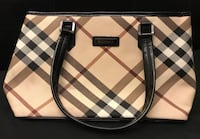 brown and white Burberry leather tote bag Happy Valley, 97086