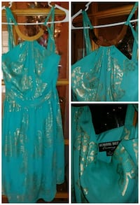 Teal and gold evening dress Rayne, 70578