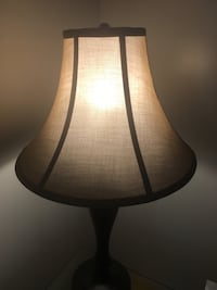 2 Brown wooden base white shade table lamp Guelph, N1H 2C6