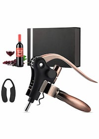 WINE BOTTLE OPENER CORKSCREW SET w/FOIL CUTTER, EXTRA CORKSCREW SPIRAL AND GIFT BOX    BRAND NEW Victorville, 92392