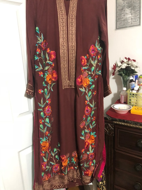 Linen brown multi colour embroidered stitched trousers shirt with georgette printed scarf/dupatta