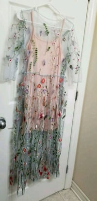 white, pink, and green floral sleeveless dress Ottawa